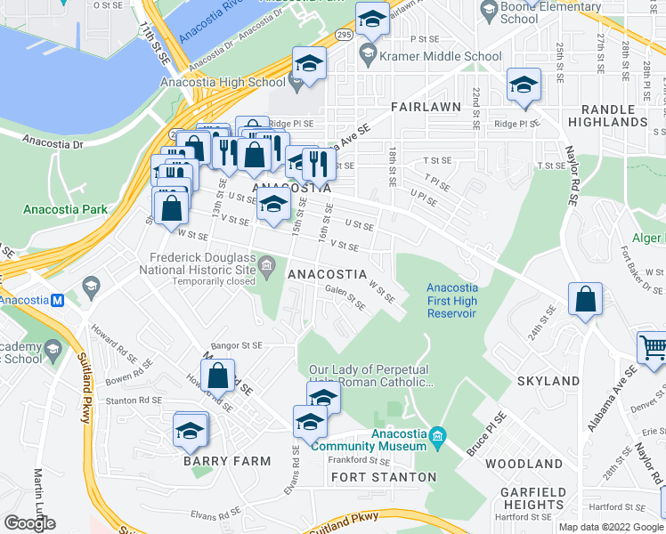 map of restaurants, bars, coffee shops, grocery stores, and more near 1616 W Street Southeast in Washington