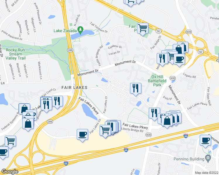 map of restaurants, bars, coffee shops, grocery stores, and more near 12451 Hayes Court in Fairfax