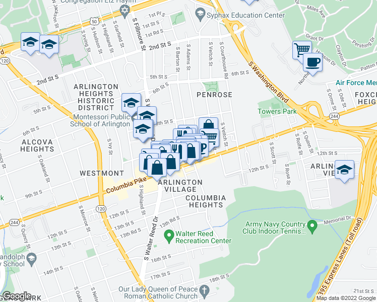 map of restaurants, bars, coffee shops, grocery stores, and more near 2405 Columbia Pike in Arlington