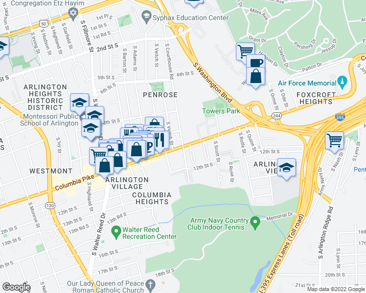map of restaurants, bars, coffee shops, grocery stores, and more near Columbia Pike & South Courthouse Road in Arlington