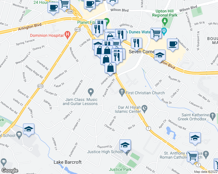 map of restaurants, bars, coffee shops, grocery stores, and more near 3103 Juniper Ln in Falls Church