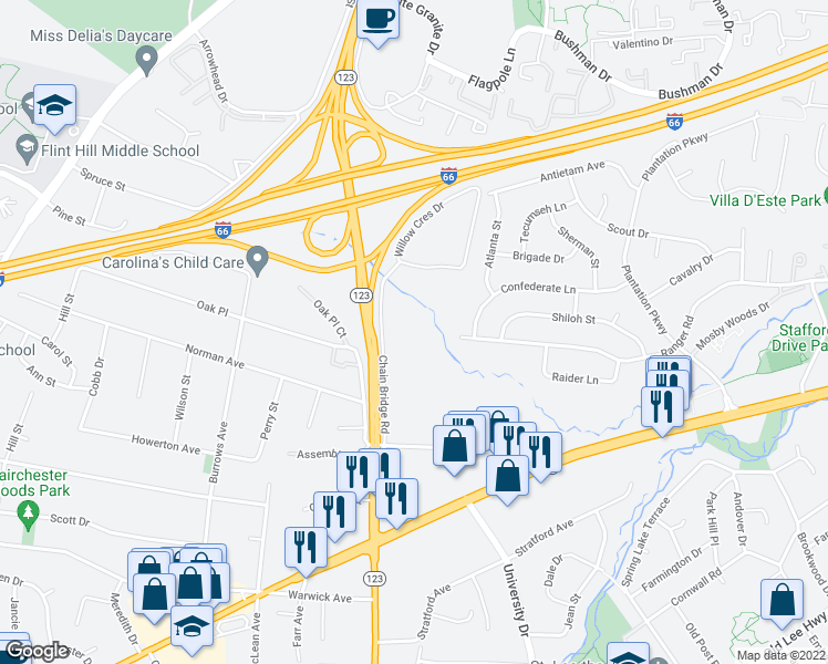 map of restaurants, bars, coffee shops, grocery stores, and more near 10406 Fairfax Village Drive in Fairfax