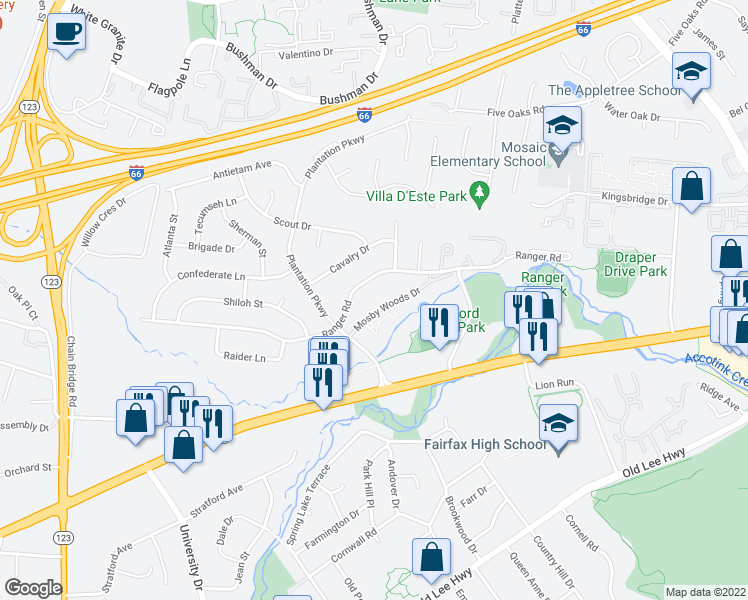 map of restaurants, bars, coffee shops, grocery stores, and more near 10124 Mosby Woods Drive in Fairfax