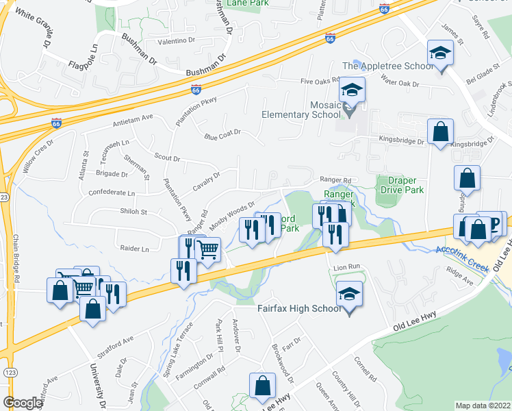map of restaurants, bars, coffee shops, grocery stores, and more near 10027 Mosby Woods Drive in Fairfax