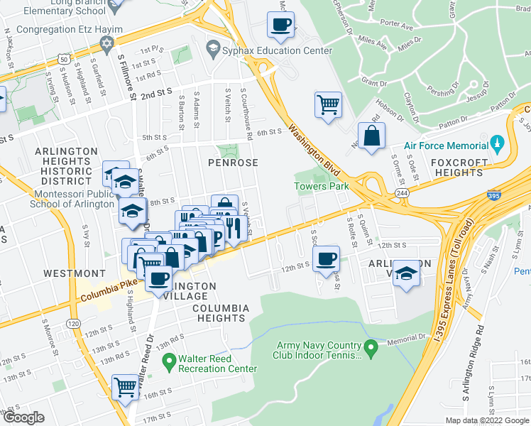 map of restaurants, bars, coffee shops, grocery stores, and more near 2003 Columbia Pike in Arlington
