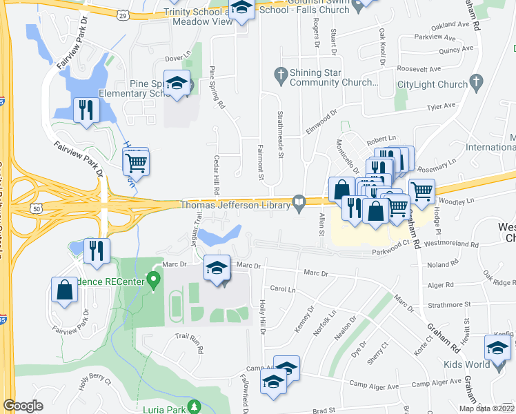 map of restaurants, bars, coffee shops, grocery stores, and more near 7512 Arlington Boulevard in Falls Church