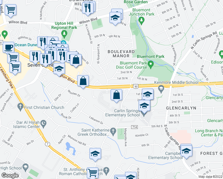 map of restaurants, bars, coffee shops, grocery stores, and more near 1-7 North Montague Street in Arlington