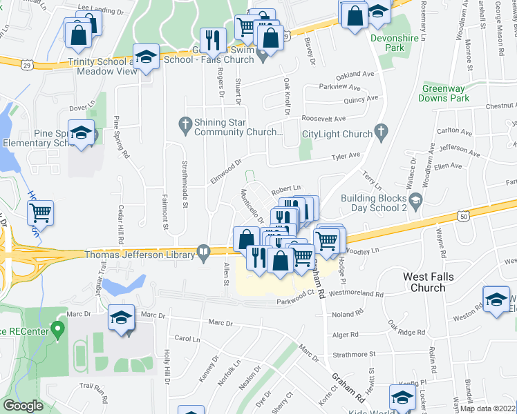 map of restaurants, bars, coffee shops, grocery stores, and more near 7308 Arlington Boulevard in Falls Church