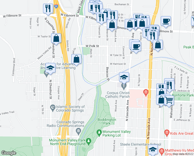 map of restaurants, bars, coffee shops, grocery stores, and more near 465 West Van Buren Street in Colorado Springs