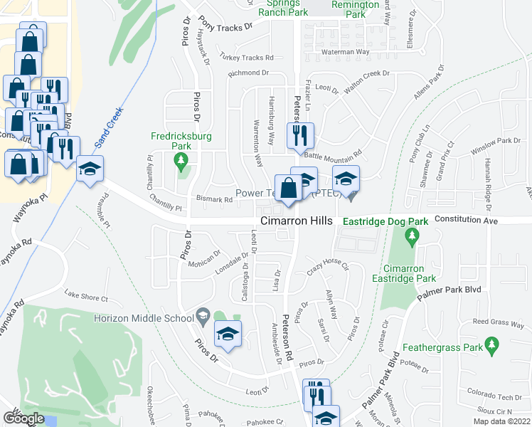 map of restaurants, bars, coffee shops, grocery stores, and more near 6609 Rio Bravo Grove in Colorado Springs