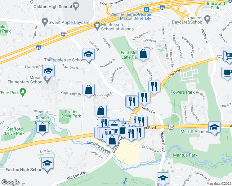 map of restaurants, bars, coffee shops, grocery stores, and more near 9559 Blake Lane in Fairfax