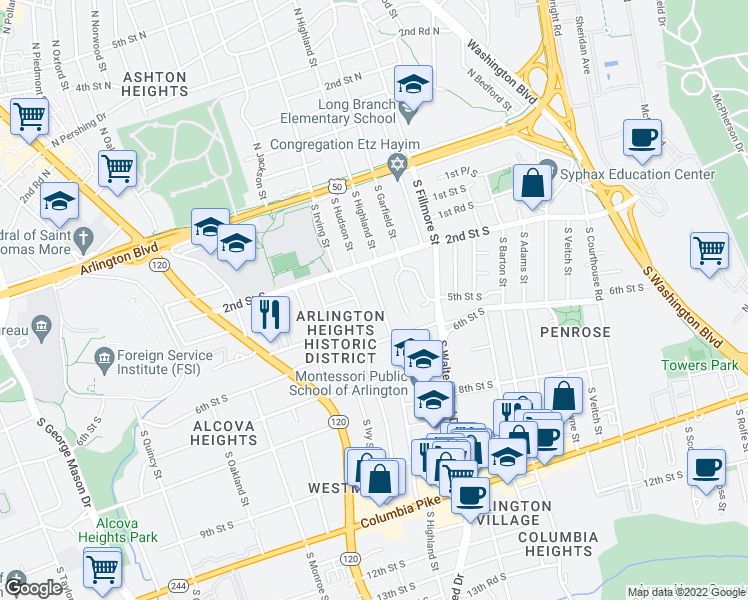 map of restaurants, bars, coffee shops, grocery stores, and more near 404 South Highland Street in Arlington
