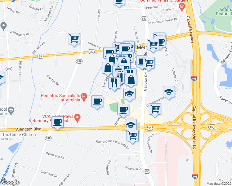 map of restaurants, bars, coffee shops, grocery stores, and more near 2987 District Avenue in Fairfax