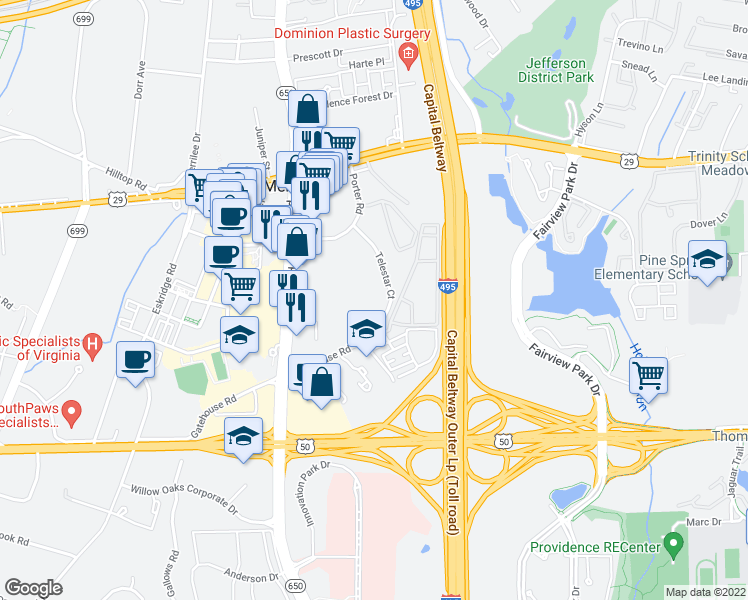 map of restaurants, bars, coffee shops, grocery stores, and more near 2990 Telestar Court in Falls Church