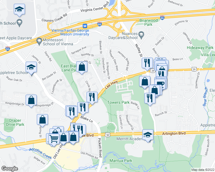 map of restaurants, bars, coffee shops, grocery stores, and more near 3066 Waterloo Lane in Fairfax