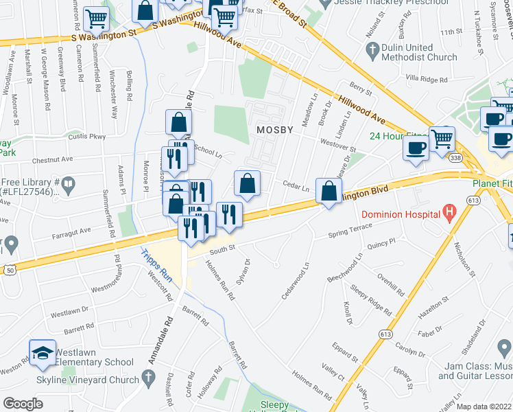 map of restaurants, bars, coffee shops, grocery stores, and more near 6550 Arlington Boulevard in Falls Church