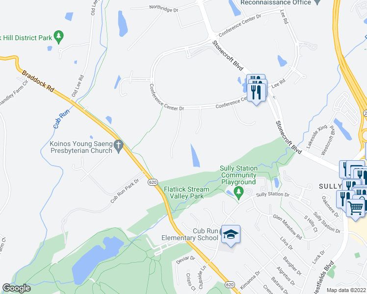 map of restaurants, bars, coffee shops, grocery stores, and more near Parkstone Drive in Fairfax County