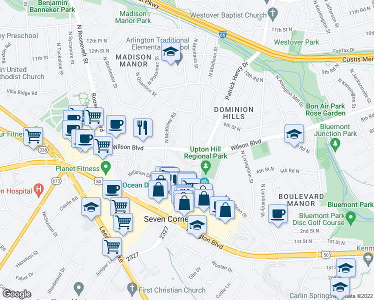 map of restaurants, bars, coffee shops, grocery stores, and more near 6154 Wilson Boulevard in Arlington