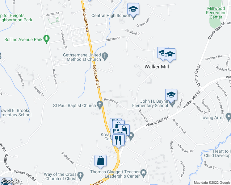 map of restaurants, bars, coffee shops, grocery stores, and more near 6500 Ronald Road in Capitol Heights