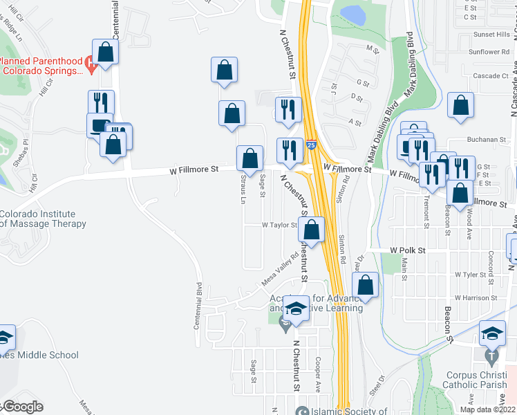 map of restaurants, bars, coffee shops, grocery stores, and more near 2903 Sage Street in Colorado Springs
