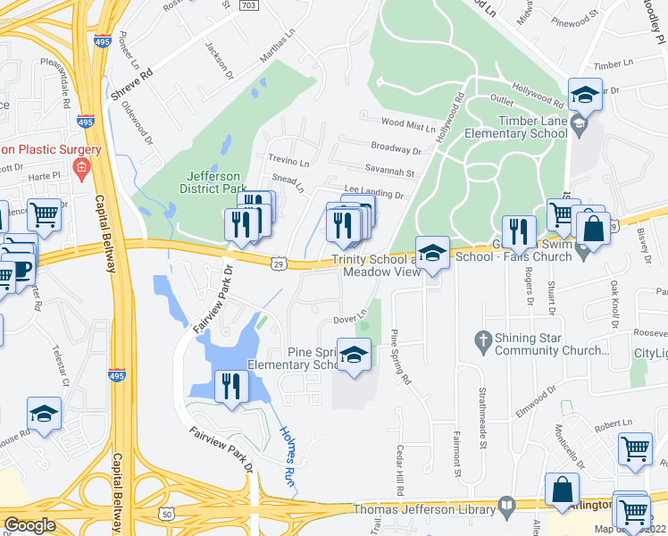 map of restaurants, bars, coffee shops, grocery stores, and more near 7642 Lee Highway in Falls Church