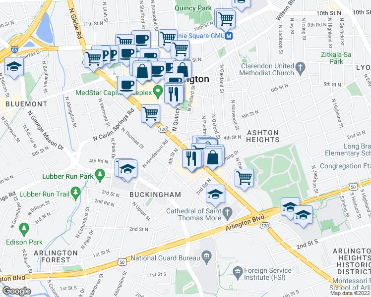 map of restaurants, bars, coffee shops, grocery stores, and more near 383 N Glebe Rd in Arlington