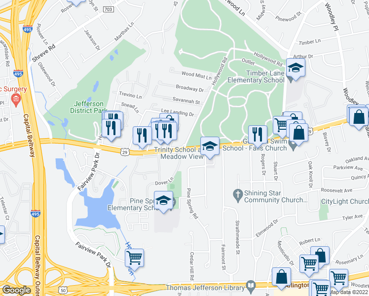 map of restaurants, bars, coffee shops, grocery stores, and more near 7610 Lee Highway in Falls Church