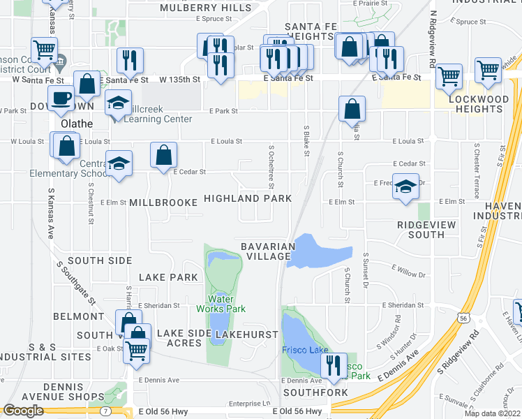 map of restaurants, bars, coffee shops, grocery stores, and more near 4416 South Parkway Drive in Olathe