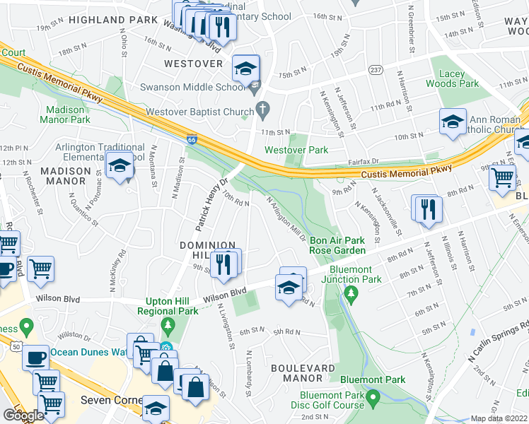 map of restaurants, bars, coffee shops, grocery stores, and more near 1025 North Larrimore Street in Arlington