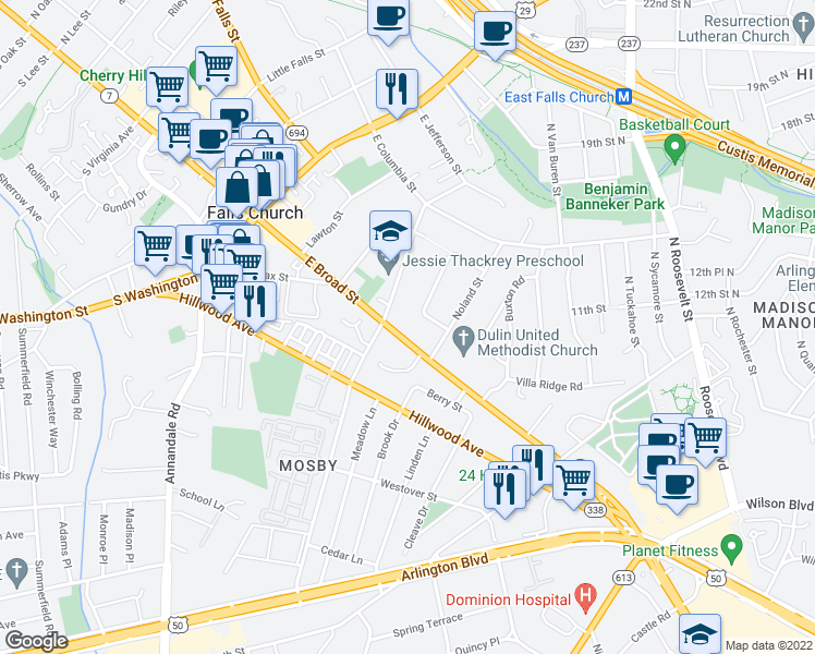 map of restaurants, bars, coffee shops, grocery stores, and more near 409 East Broad Street in Falls Church