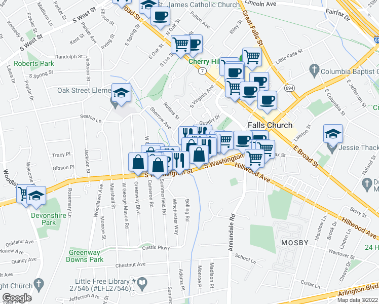 map of restaurants, bars, coffee shops, grocery stores, and more near 410 South Maple Avenue in Falls Church
