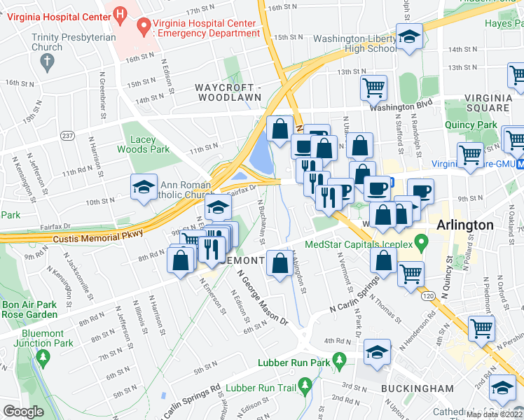 map of restaurants, bars, coffee shops, grocery stores, and more near 963 North Buchanan Street in Arlington