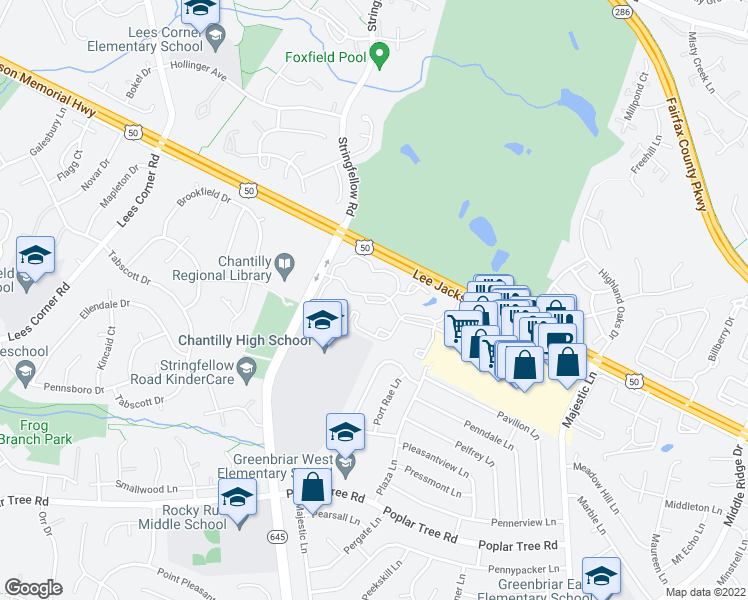 map of restaurants, bars, coffee shops, grocery stores, and more near 13292 Leafcrest Lane in Fairfax
