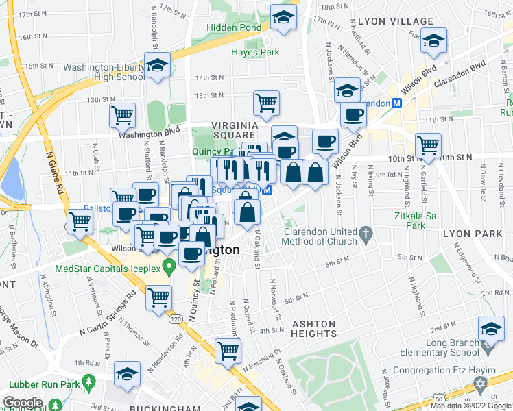 map of restaurants, bars, coffee shops, grocery stores, and more near 901 North Nelson Street in Arlington