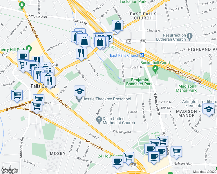 map of restaurants, bars, coffee shops, grocery stores, and more near 410 East Jefferson Street in Falls Church