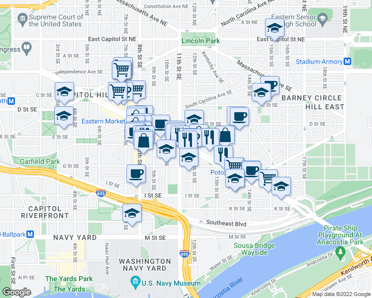 map of restaurants, bars, coffee shops, grocery stores, and more near 1111 Pennsylvania Avenue Southeast in Washington