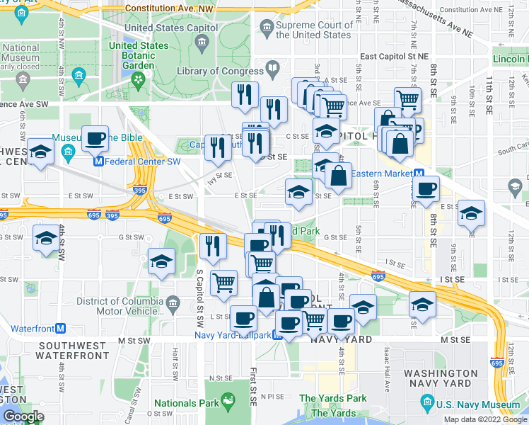 map of restaurants, bars, coffee shops, grocery stores, and more near 115 Duddington Place Southeast in Washington