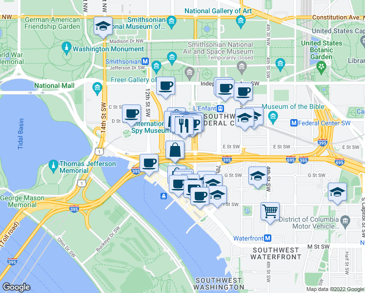 Map Of Restaurants Bars Coffee Shops Grocery Stores And More Near 950