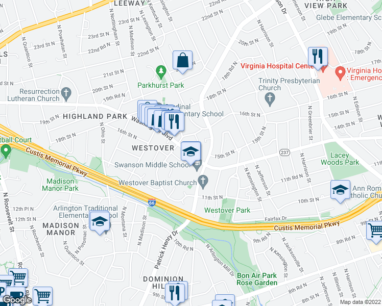 map of restaurants, bars, coffee shops, grocery stores, and more near 5819 Washington Boulevard in Arlington