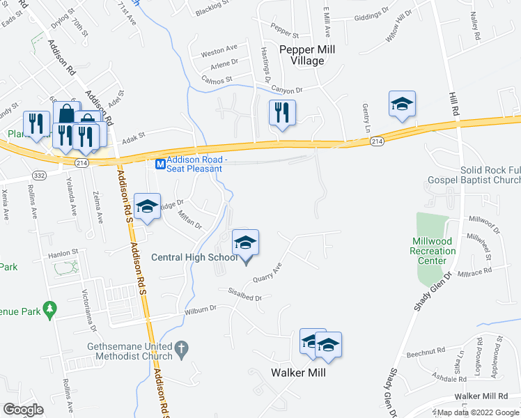 map of restaurants, bars, coffee shops, grocery stores, and more near 6919 Central Avenue in Capitol Heights