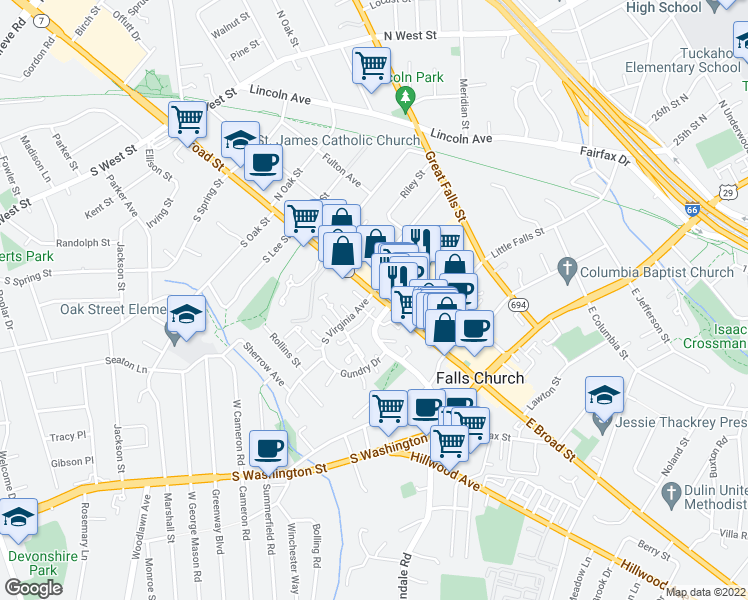 map of restaurants, bars, coffee shops, grocery stores, and more near 399 West Broad Street in Falls Church