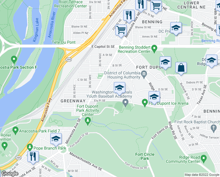 map of restaurants, bars, coffee shops, grocery stores, and more near 324 Anacostia Road Southeast in Washington