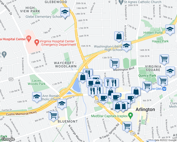 map of restaurants, bars, coffee shops, grocery stores, and more near North Glebe Road & Washington Boulevard in Arlington