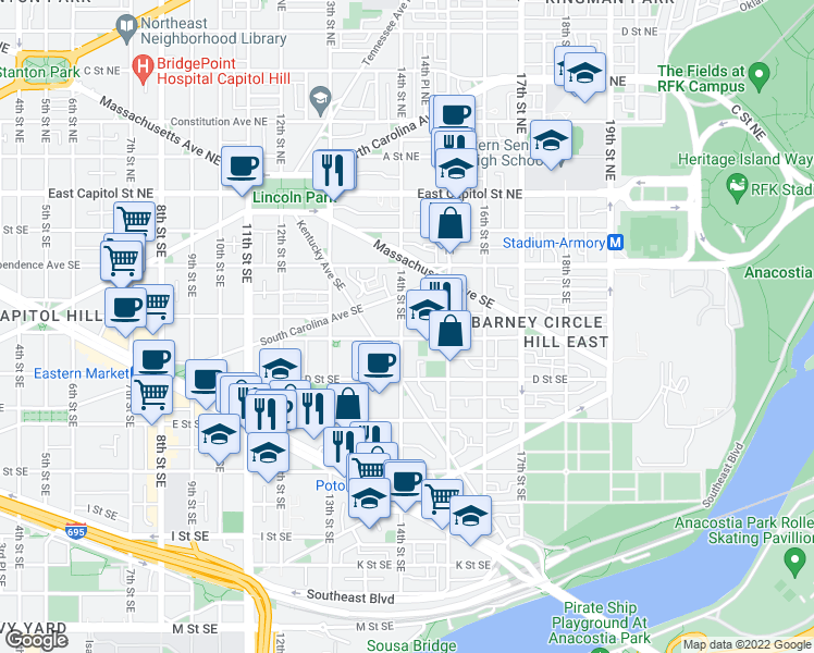 map of restaurants, bars, coffee shops, grocery stores, and more near 245 14th Street Southeast in Washington