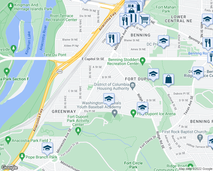 map of restaurants, bars, coffee shops, grocery stores, and more near 343 37th Street Southeast in Washington
