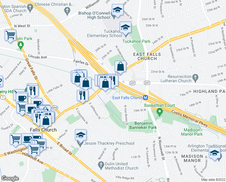 map of restaurants, bars, coffee shops, grocery stores, and more near 2121 North Westmoreland Street in Arlington