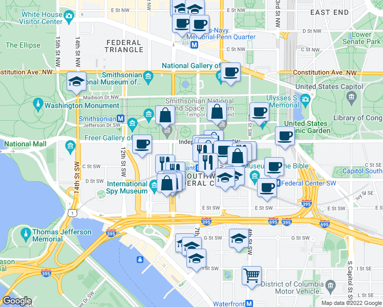 map of restaurants, bars, coffee shops, grocery stores, and more near 800 Independence Avenue Southwest in Washington