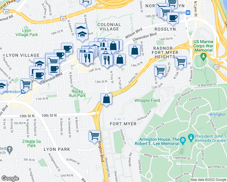 map of restaurants, bars, coffee shops, grocery stores, and more near 1009 North Troy Street in Arlington