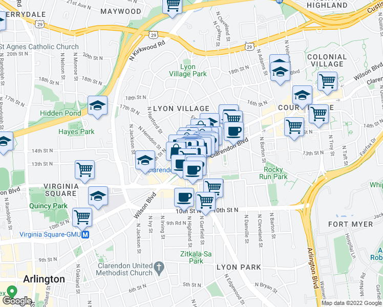 map of restaurants, bars, coffee shops, grocery stores, and more near 3033 Wilson Boulevard in Arlington