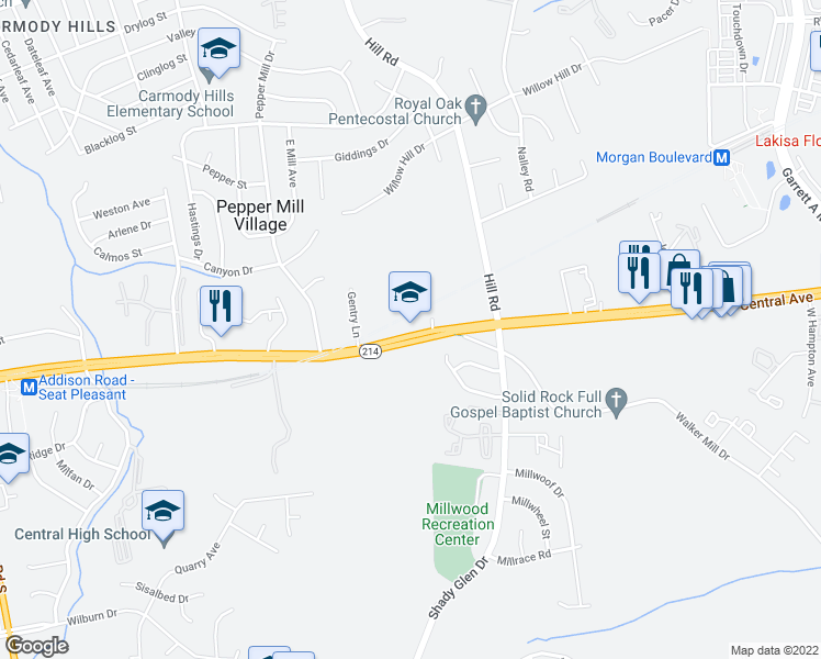 map of restaurants, bars, coffee shops, grocery stores, and more near 7220 Central Avenue in Capitol Heights
